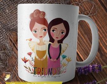 Friends Mug, Bestie Mug, Angel Mug, Best Friend Gift, BFF, Coffee Mug, Gift for Her, Whimsical Folk Art Girls, Whimsical Mug