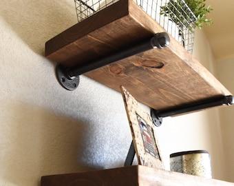 Any Depth, Any Length Industrial Floating Shelf, Rustic Shelves, Wood Farmhouse Shelf, Kitchen and Bathroom Shelving, Modern Wall Shelf