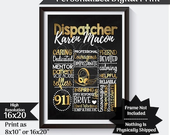 Personalized 911 Dispatcher Gift Chalkboard Gift For Dispatcher Thank You Gift Telecommunicator Gift 911 Dispatcher Wall Art Printable