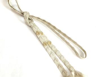 Vintage Obijime, Silk Japanese Cord Kumihimo, white and gold Woven Tie Belt, braided belt for kimono obi, Free shipping