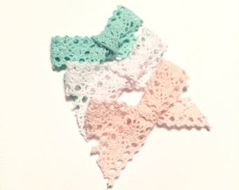 SALE // pastel lace bow || white/pale pink/mint lace bow trio or sold seperately
