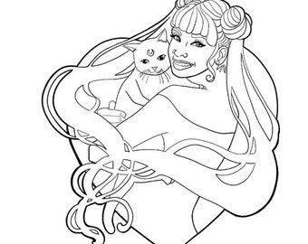 Coloring Page Sailor Moon and Luna Line Art