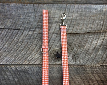 Orange and White Houndstooth Dog Leash