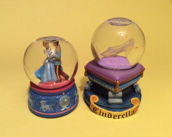 Vintage 2 Disney Cinderella and Glass Slipper Mini Snow Globes