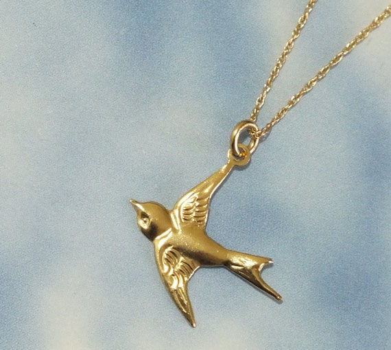 Solid gold bird necklace 14k gold sparrow necklace delicate mozeypictures Choice Image