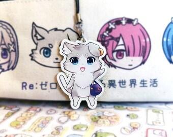 "Re:zero | Puck | Acrylic Charm Keychain | 2.4"" pack double sided kawaii chibi gift"