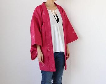 pink kimono, haori, kimono top, festival kimono, pink jacket, Japanese clothing, kimono jacket, kimono vintage /2813