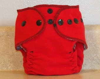 Fitted Preemie Newborn Cloth Diaper- 4 to 9 pounds- Red with Black Accents- 16043