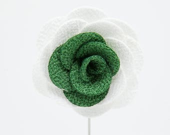 Alexandria White/Green Flower Lapel Pin