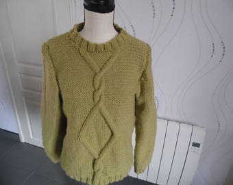 Sweater color vanilla dark woman knitting needles. Size 38