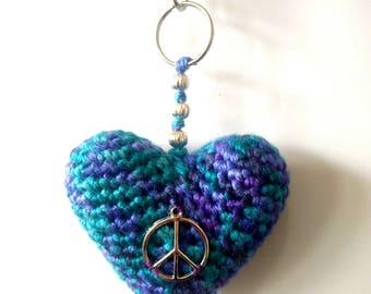 Crochet heart. Blue crochet heart. Amigurumi heart. Purple crochet keychain. Key chain heart. Blu key chain.