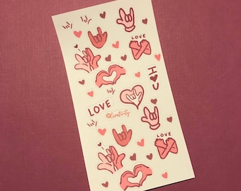 "Love and ""ILY"" sign language stickers"