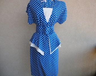 Blue & White Polka Dot Peplum Dress