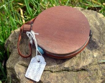 Vintage Round Guinea Rosewood Hip Flask, Pocket size, Made In Australia