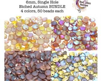 Czech Glass Lentil Etched Bead BUNDLE, Single Hole, 6mm, 4 colors, approx 50 beads each, Etched Autumn Bundle