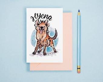 Hyena Illustration Print - Animal Postcard, Animal Print, Nursery Art, Cute Greeting Card, Animal Lover Gift, Art Print, Wall Art