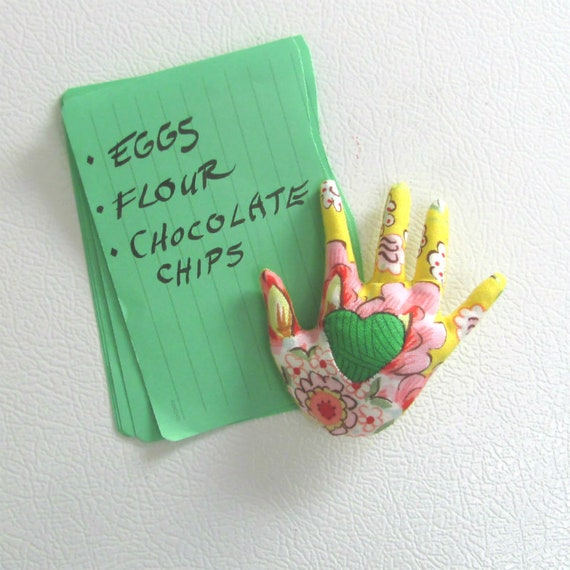 New! HAND-Maggie ~ Fabric Refrigerator Magnet ~ Ready to Ship