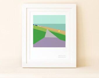 Tankerton Slopes Geometric Landscape Print