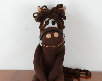 Brown horse, sock horse, sock toy, toy animal, horse