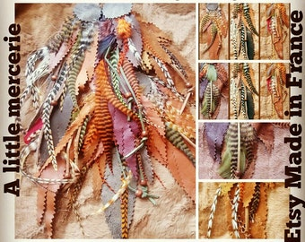 Set of 6 applications leather feathers