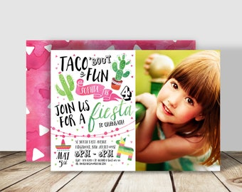 Taco 'bout Fun PHOTO Fiesta Birthday Party Invitation - 5x7 double sided - Spanish Inspired - Cactus Birthday Party