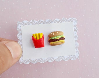 Mismatch Food Earrings - Fries and Cheeseburger Stud Earrings - Fast Food Jewelry - Foodie Gift Idea