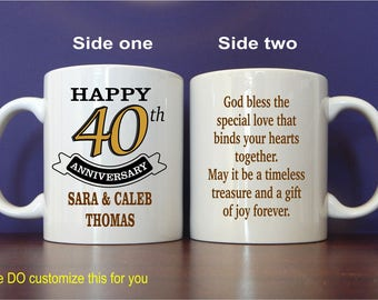 40th Anniversary Gifts - Gift for Anniversary - Personalized Mugs for Parents - 40 Years of Marriage Anniversary - Mug, MAC005