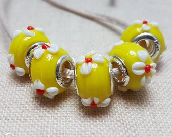 Yellow Lampwork Beads X 5. Yellow Flower Beads. Glass Beads. European Bracelet Style. UK Seller