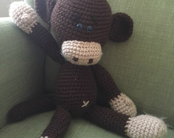 Melvin the Monkey| Stuffed Animal| Crocheted Animal| Amigurumi | Handcrafted |Kids| Gift| Toy