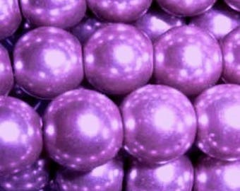 100 pieces 6mm Glass Pearl Beads - Lilac Purple - A0957