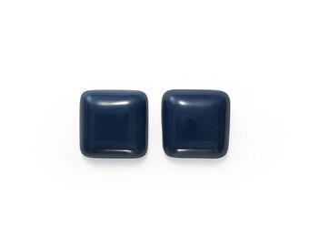 Ceramic Marine blue Squares Cabochon 1 pair