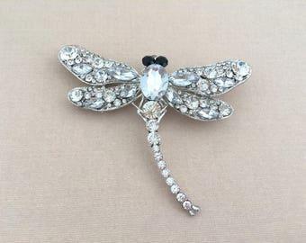 Clear Dragonfly Brooch.Dragonfly Crystal Brooch.Dragonfly Rhinestone Brooch.Silver Broach.Vintage Style.Wedding Accessory.Large Brooch Pin