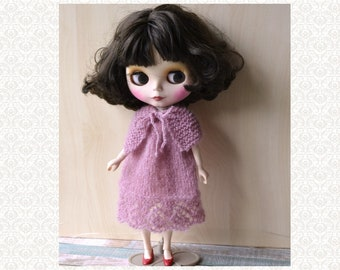 Blythe Doll Outfit Knitted Dress Hand Knit Kidmohair Mauve Blythe Licca 12 inch Doll Clothes Dress Set
