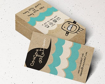 "200 Business Cards or tags 3.5""X2"" - printed on 32 PT THICK Kraft board/paper - with white ink - single Sided eco-friendly"