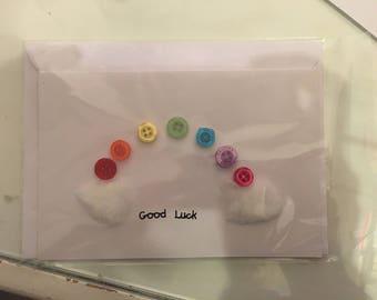 Good Luck handmade rainbow card