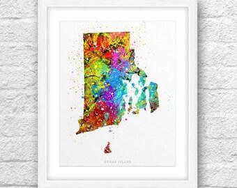 Rhode Island Map, Rhode Island Print, Rhode Island Art, RhodeIsland State, Rhode Island Vivid Color, Modern Art, Rhode Island Printable