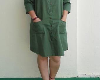 Linen Dress / Half Sleeves Relax Linen Dress