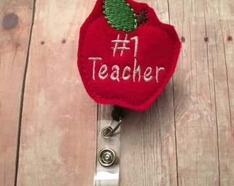 Number 1 teacher badge reel -- perfect gift for your favorite teacher -- show your appreciation