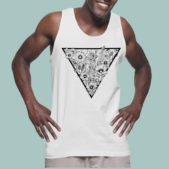 Triangle Flowers | American Apparel Fine Jersey Unisex Graphic Tank Top| Tattoo style | Original Artwork | Pen and Ink Flowers | Geometrical