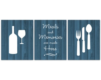 Teal Rustic Kitchen CANVAS Or PRINTS, Fork And Spoon Wall Decor, Wine Glass  Art, Meals And Memories Are Made Here Kitchen Quote   HOME364