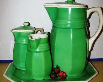 1930 Lustre Ware Retro Teapot, Creamer, 4 piece set, Green, Made in Japan  SEIEI & Company, 37J
