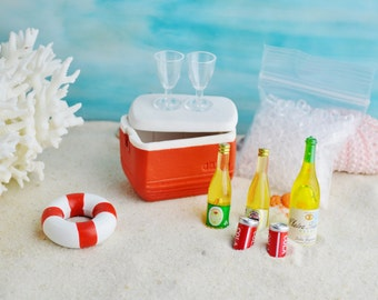 Beach Cooler with Miniature Ice and 2 drinks ~ Make choice at checkout  ~ Miniature ~ Terrarium accessory