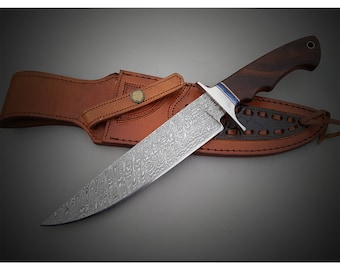 Custom Handmade  Damascus Steel Bowie/hunters knife with aTwisted ladder pattern blade and heavy duty custom top grain leather sheath