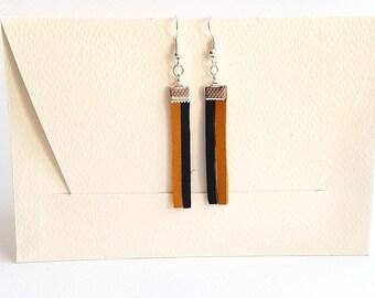 Leather Earrings, Genuine Leather Earrings,Leather Bar Earrings,Dangle Earrings,Bar Earrings,Leather Jewelry,Leather Strip Earrings