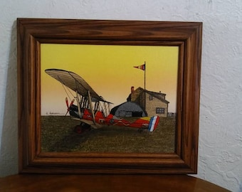H. Hargrove Framed Serigraph of Biplane, Airplane Painting