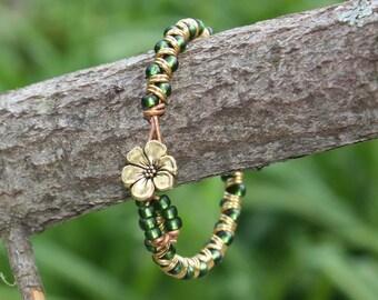 Single Wrap Bracelet, Green Bracelet, Goddess Bracelet, Jump Ring Bracelet, Gold Leather Cord