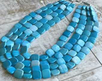 Blue Chunky Necklace, Multi strand Necklace, Aqua Blue Chunky Necklace, Statement Necklace, ACRYLIC Necklace