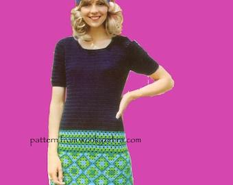 Vintage Crochet Tunic Smock Pattern PDF 462 from WonkyZebra