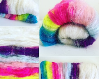 Unicorn Art Batt, Sparkle Rainbow Batt, Textured Art Batt, Shiny Spinning Fiber, Rainbow Roving, Glam Art Batt, Rainbow Spinning Fiber, Batt