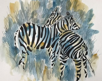 "Original pen and ink drawing with watercolor wash ""Stripes on Stripes"""